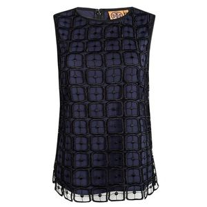 Tory Burch Navy Blue Silk Lace Top in size 8